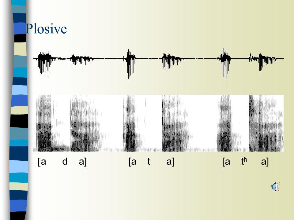 Plosive [a d a] [a t a] [a th a]